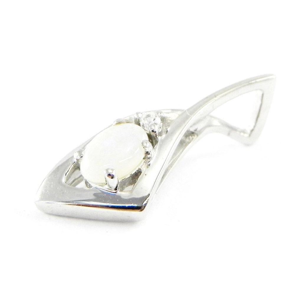 Pendentif Argent artisanal \'Déesse Opale\' blanc argenté (rhodié) - 20x8 mm - [E8671]
