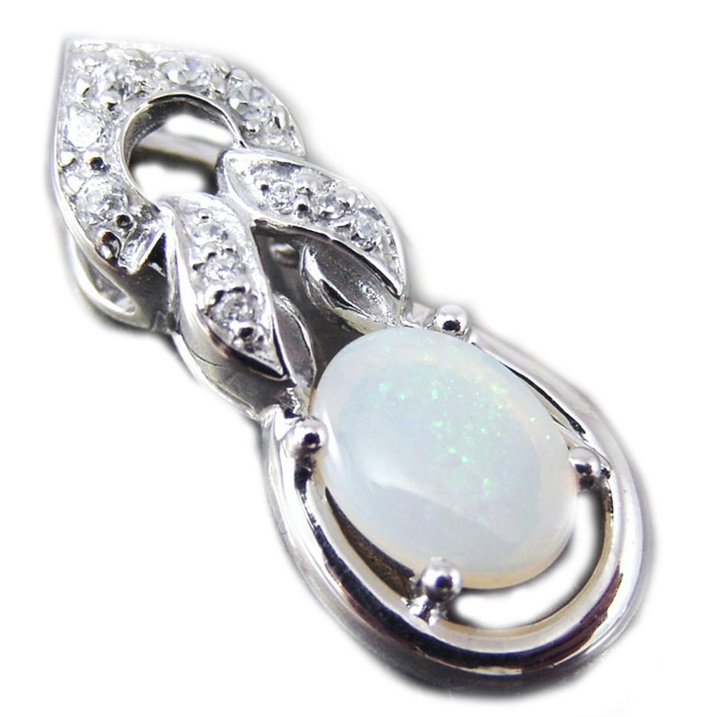 Pendentif Argent artisanal \'Déesse Opale\' blanc argenté (rhodié) - 23x9 mm - [G0786]