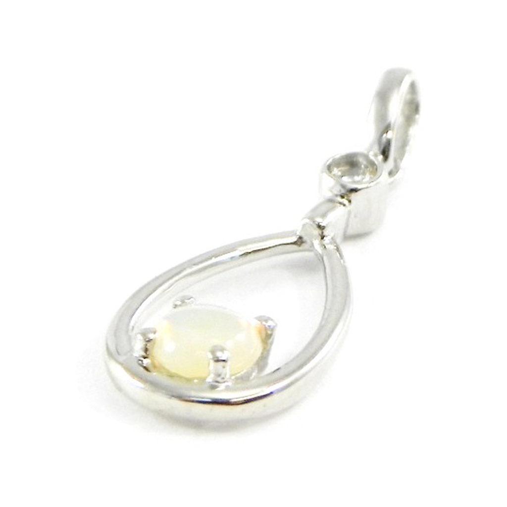 Pendentif Argent artisanal \'Déesse Opale\' blanc argenté (rhodié) - 14x6 mm - [G0791]