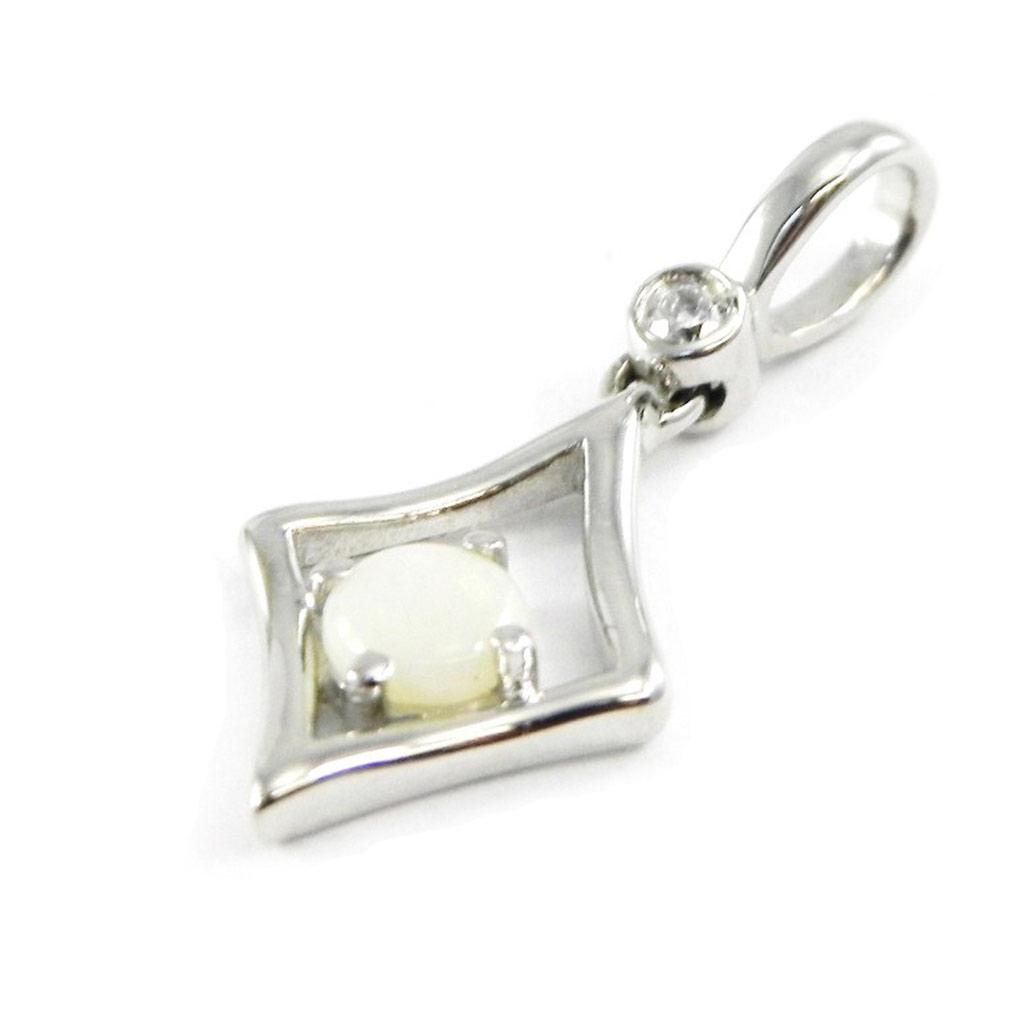 Pendentif Argent artisanal \'Déesse Opale\' blanc argenté (rhodié) - 14x9 mm - [G0792]