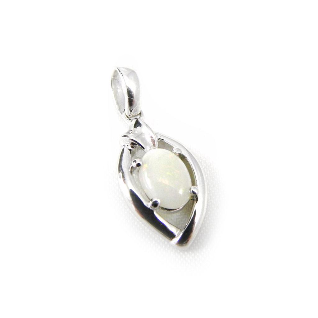 Pendentif Argent artisanal \'Déesse Opale\' blanc argenté (rhodié) - 15x9 mm - [G0796]