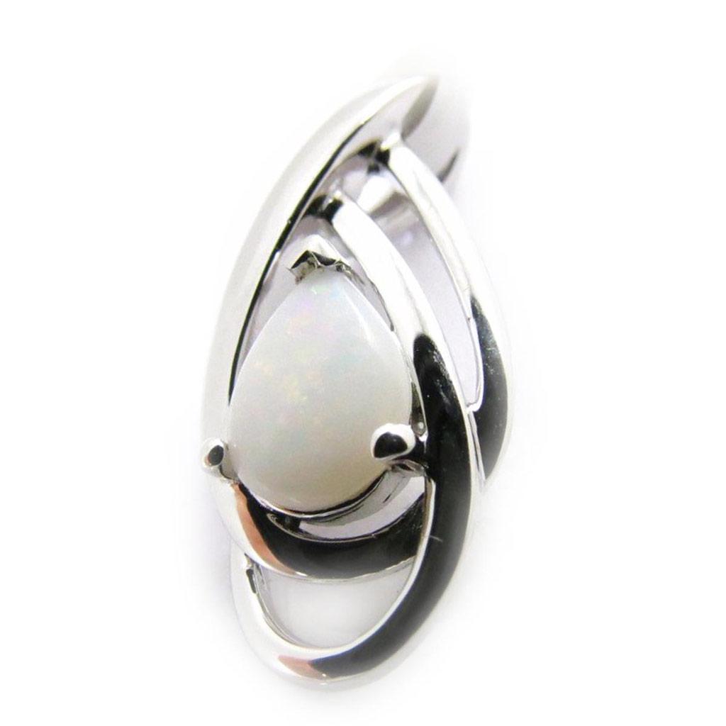 Pendentif Argent artisanal \'Déesse Opale\' blanc argenté (rhodié) - 10x20 mm - [G8677]