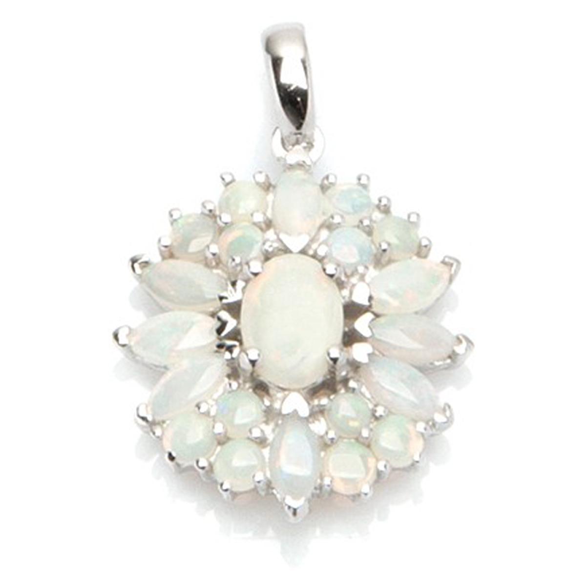 Pendentif Argent artisanal \'Déesse Opale\' blanc argenté (rhodié) - 25x15 mm - [I2607]