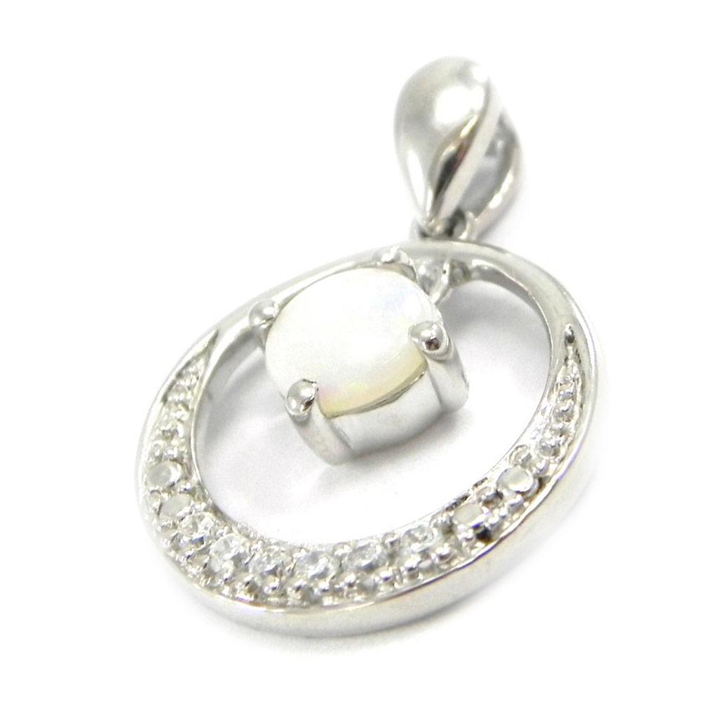 Pendentif Argent artisanal \'Déesse Opale\' blanc argenté (rhodié) - 20x16 mm - [I2608]