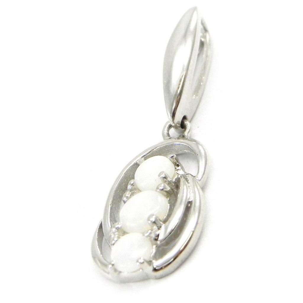 Pendentif Argent artisanal \'Déesse Opale\' blanc argenté (rhodié) - 28x10 mm - [I2613]