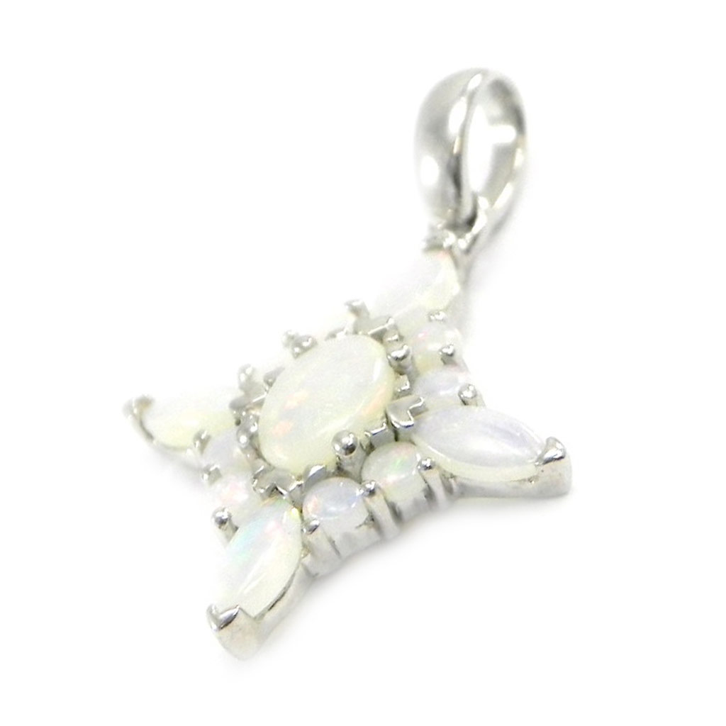 Pendentif Argent artisanal \'Déesse Opale\' blanc argenté (rhodié) - 24x16 mm - [I2615]