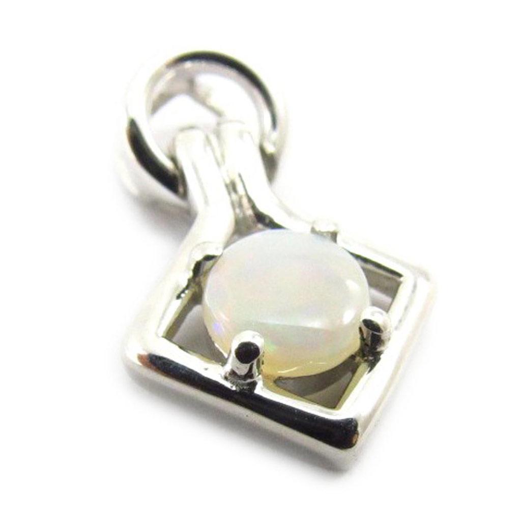 Pendentif Argent artisanal \'Déesse Opale\' blanc argenté (rhodié) - 20x12 mm - [J5700]