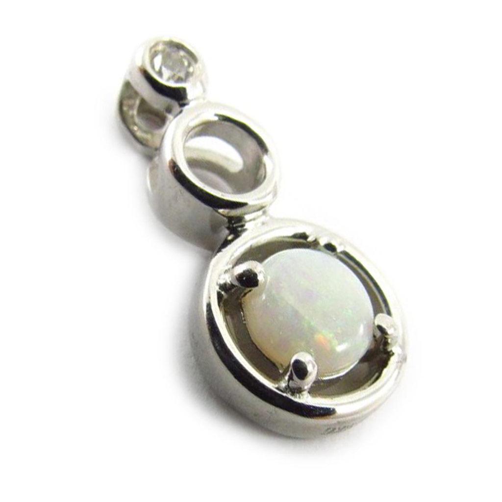 Pendentif Argent artisanal \'Déesse Opale\' blanc argenté (rhodié) - 16x8 mm - [J5704]