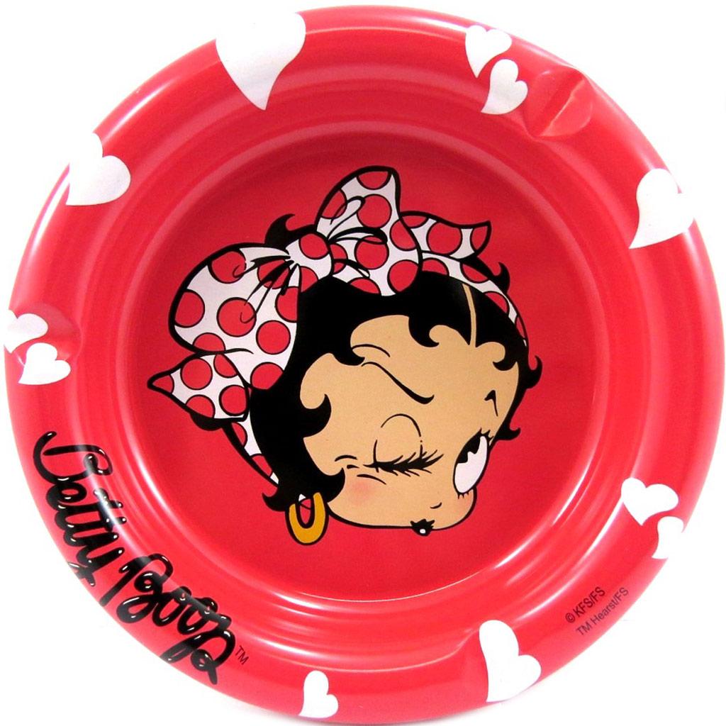 Cendrier métal \'Betty Boop\' rouge - [L4177]