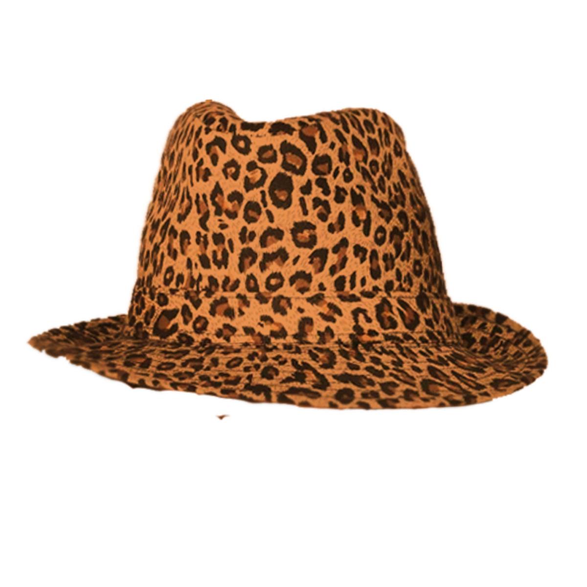 Borsalino \'Leopard\' marron - taille unique - [M0877]