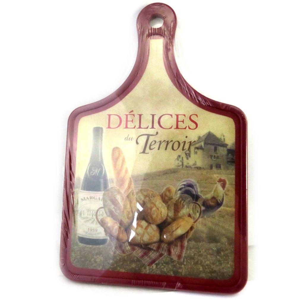 Planche à découpe \'Terroir Français\' pain, coq, vin (30x20 cm) - [M4900]