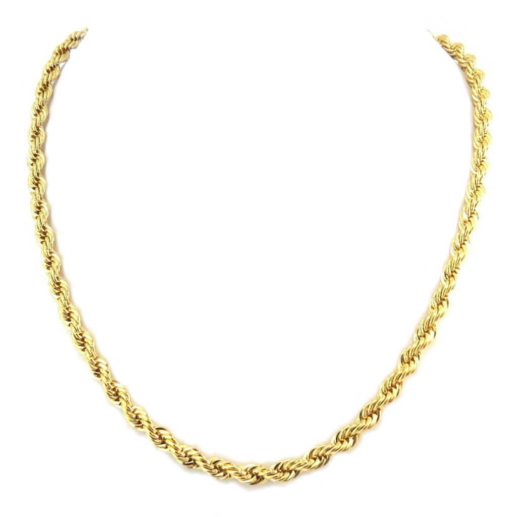 Chaine Plaqué Or \'Maille Corde Ronde\' - 45 cm 5 mm - [P2394]