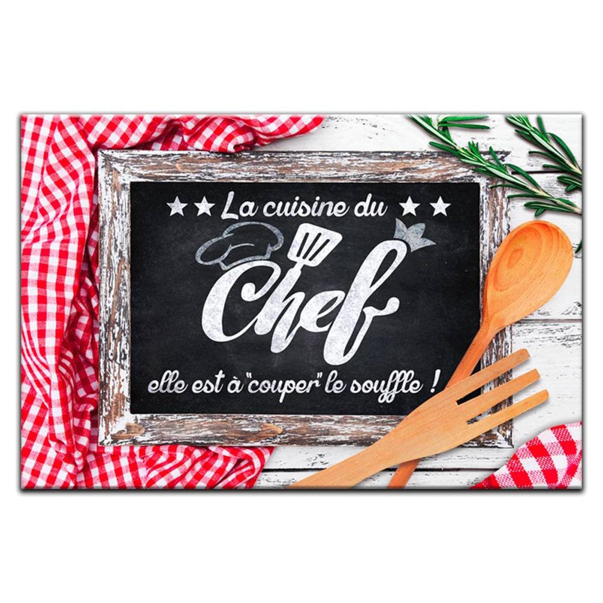 Planche à découpe / dessous de plat verre  \'Messages\' (La Cuisine du Chef ) - 30x20 cm - [P2918]