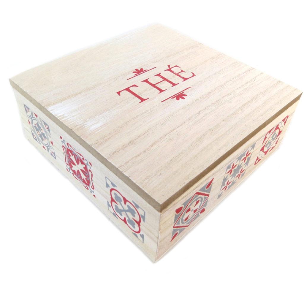 Boite à thé bois \'Thé\' beige patiné rouge - 18x18x7 cm - [P9518]