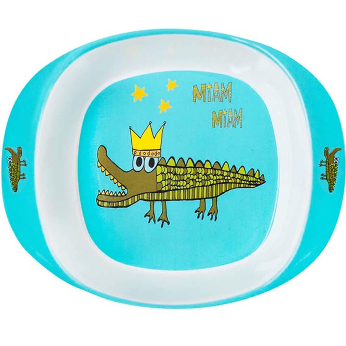 Assiette bébé mélamine \'Saperlipopette\' turquoise (crocodile) - 165x135x42 cm - [R0641]