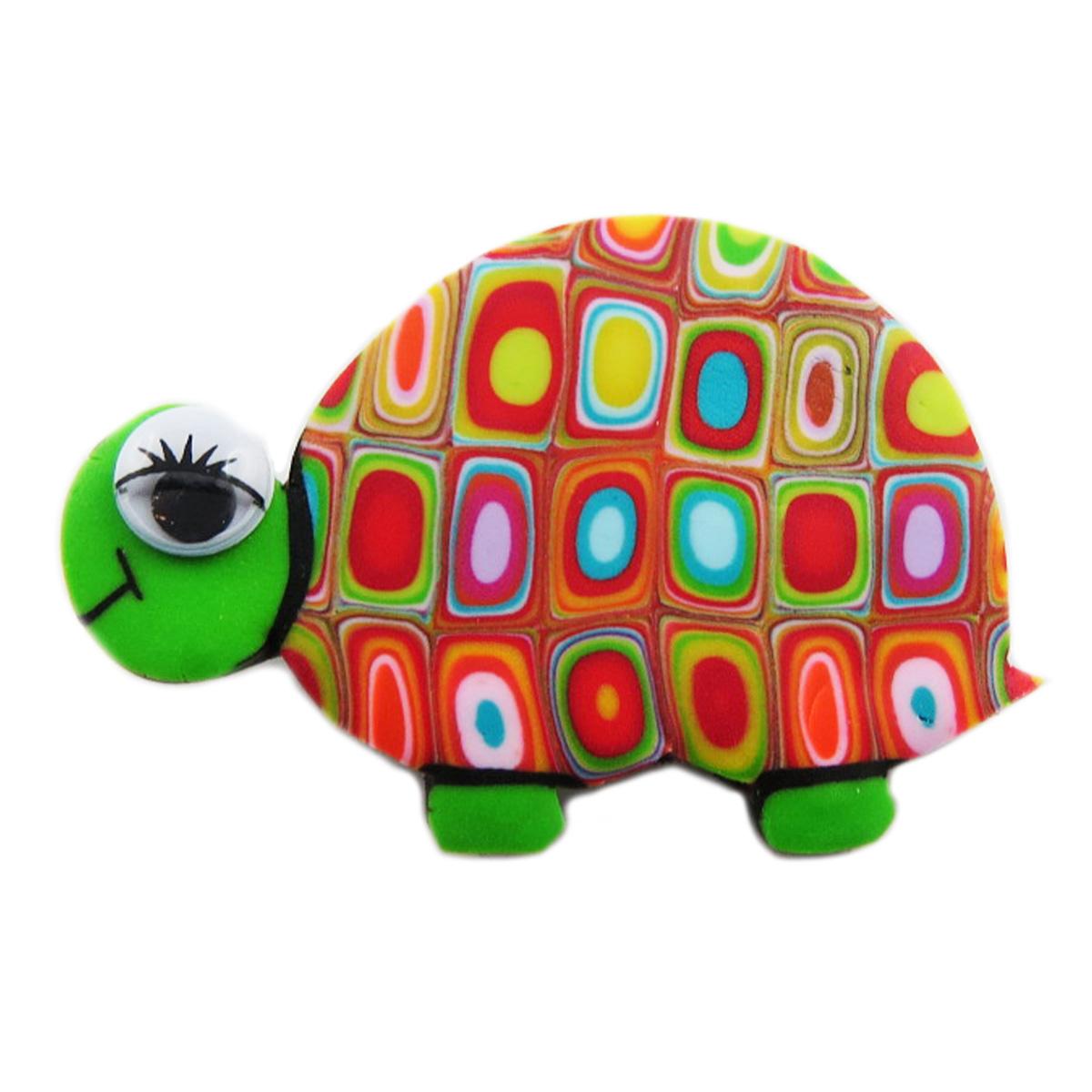 Broche artisanale \'Colombine & Arlequin\' vert multicolore (tortue) - 45x30 mm - [R1338]
