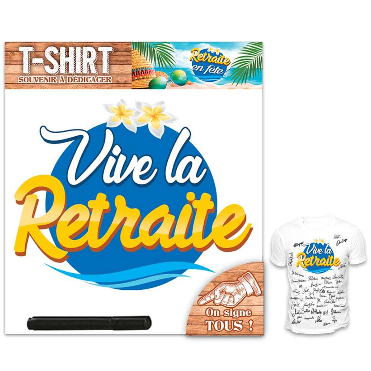 T-shirt \'Retraite\' bleu blanc - homme (dédicace) - [R1414]