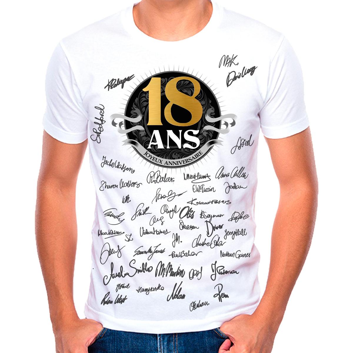 T-shirt \'18 ans\' noir blanc - (dédicace) - [R1419]