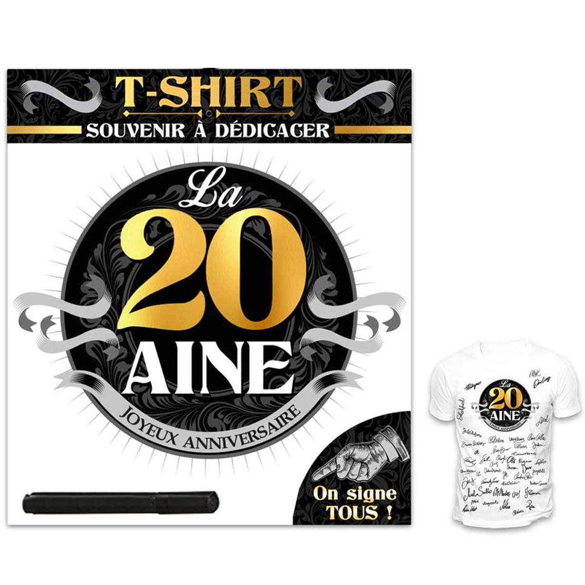 T-shirt \'20 aine\' noir blanc - (dédicace) - [R1422]