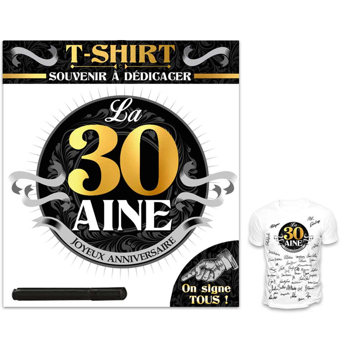 T-shirt \'30 aine\' noir blanc - (dédicace) - [R1423]