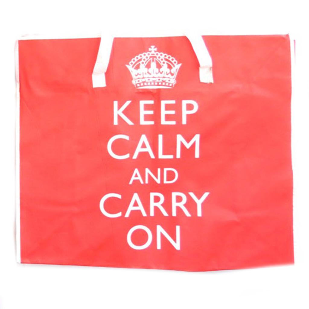 Méga sac Shopping \'Keep Calm\' rouge - 65x55x30 cm - [R2151]