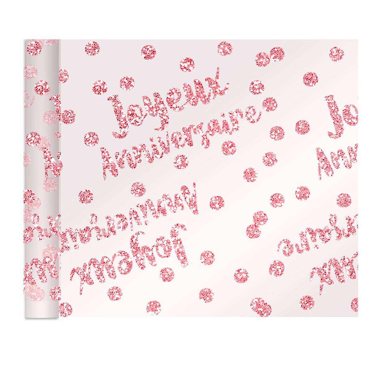 Chemin de table voile pailletté \'Joyeux Anniversaire\' rose blush - 4 m x 28 cm - [R2175]