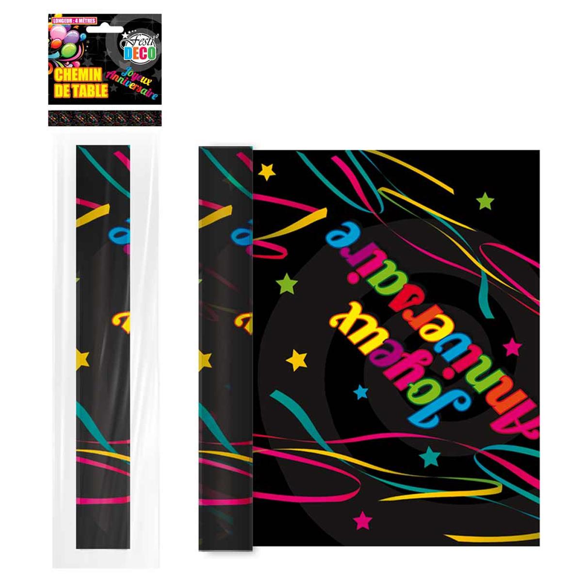 Chemin de table papier \'Joyeux Anniversaire\' multicolore - 4 m x 28 cm - [R2270]