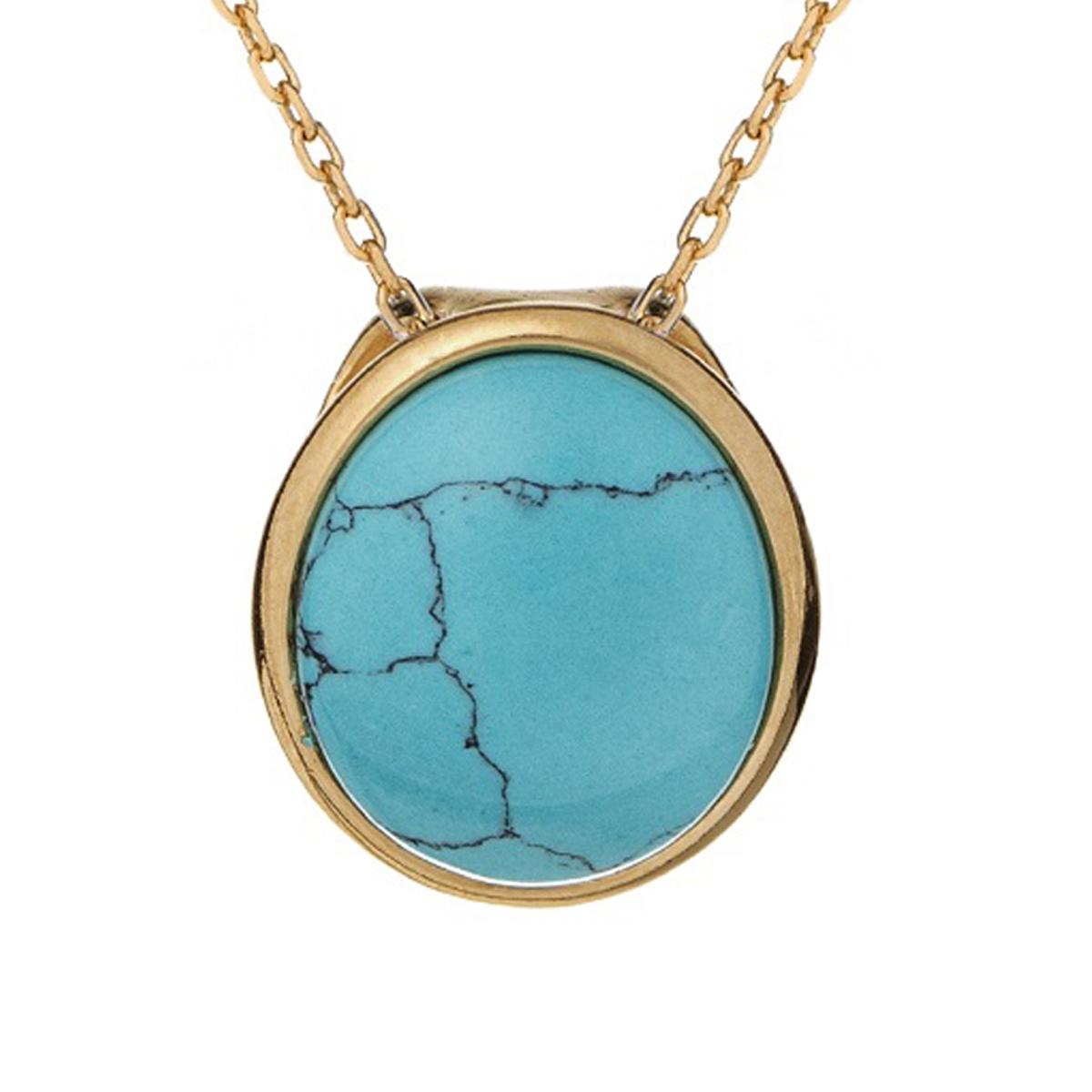 Pendentif Argent artisanal \'Meghan\' turquoise doré - 13x10 mm - [R5608]