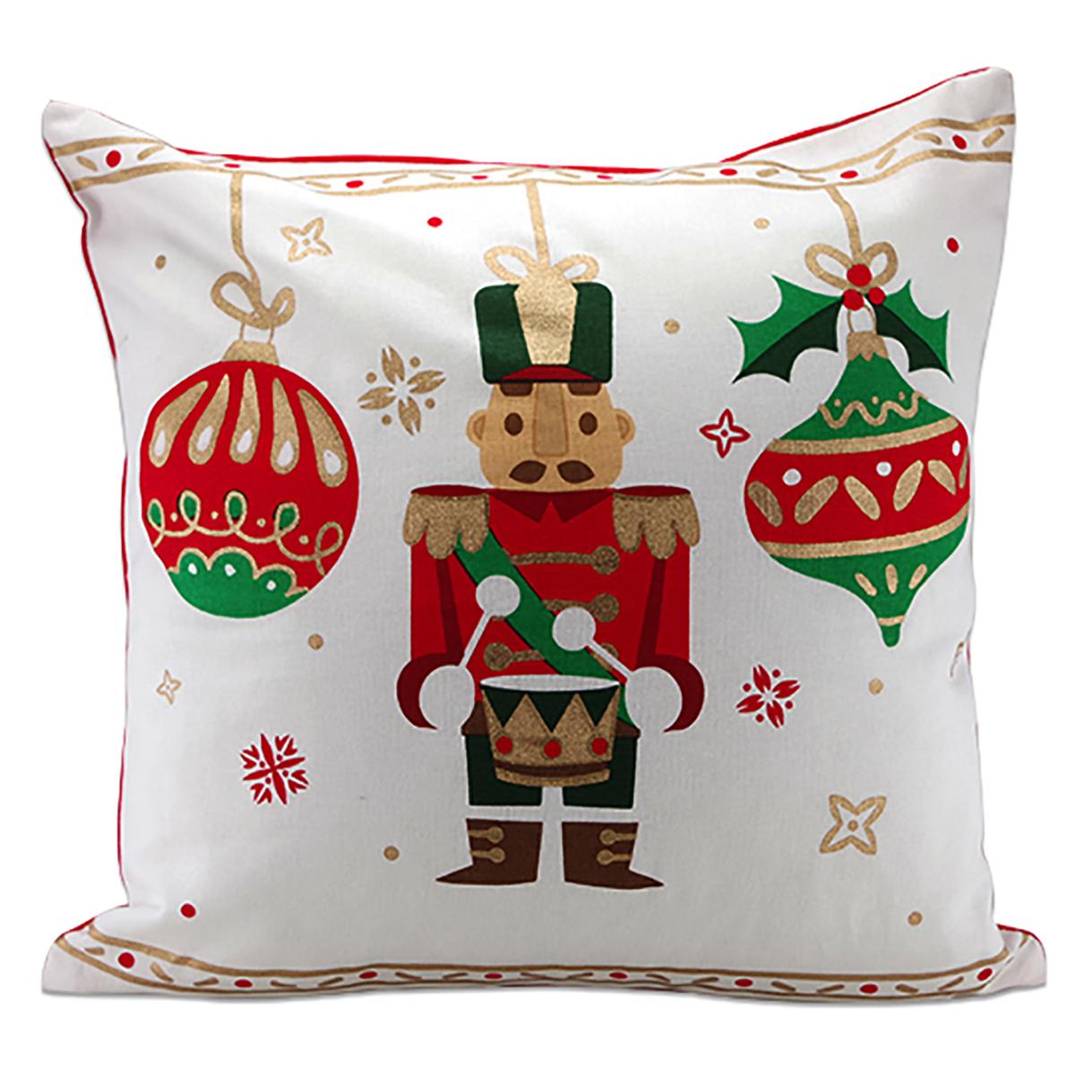 Coussin coton \'Casse-Noisette\' rouge vert blanc - 40x40 cm (Noël) - [A3234]
