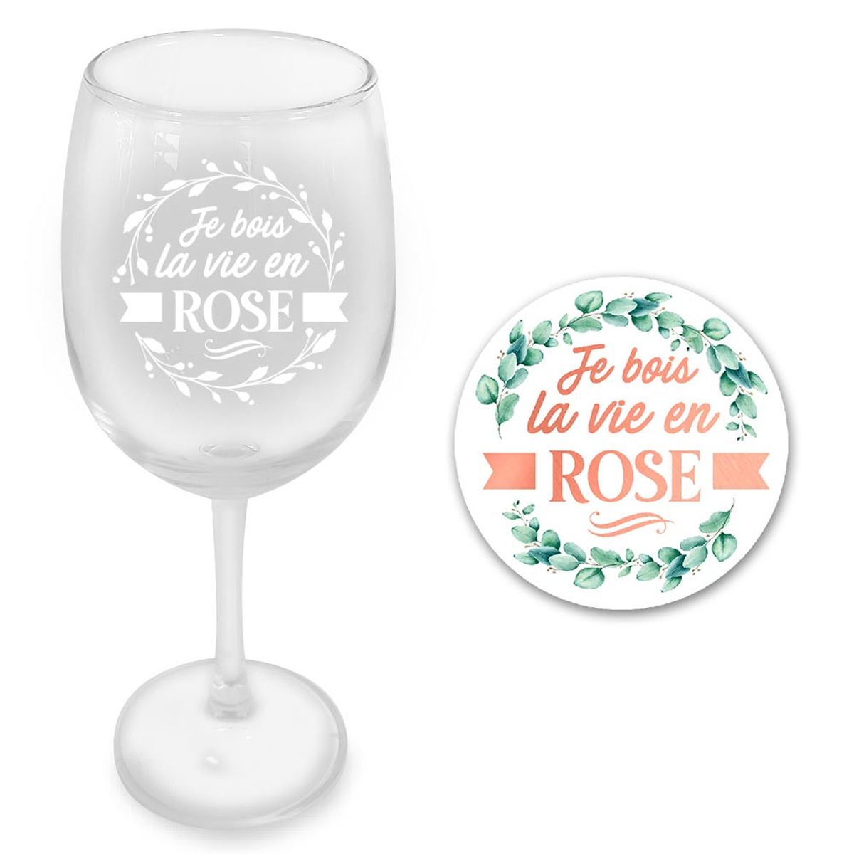Coffret verre à vin + dessous de verre \'Je bois la Vie en Rose\' - 23x10 cm - [A3250]