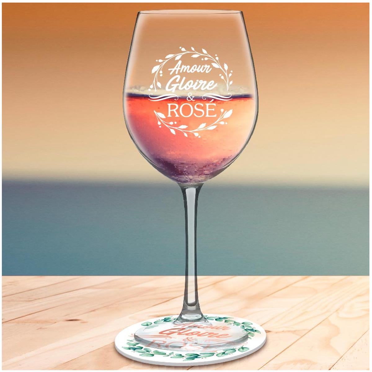 Coffret verre à vin + dessous de verre \'Amour, Gloire et Rosé\' - 23x10 cm - [A3251]