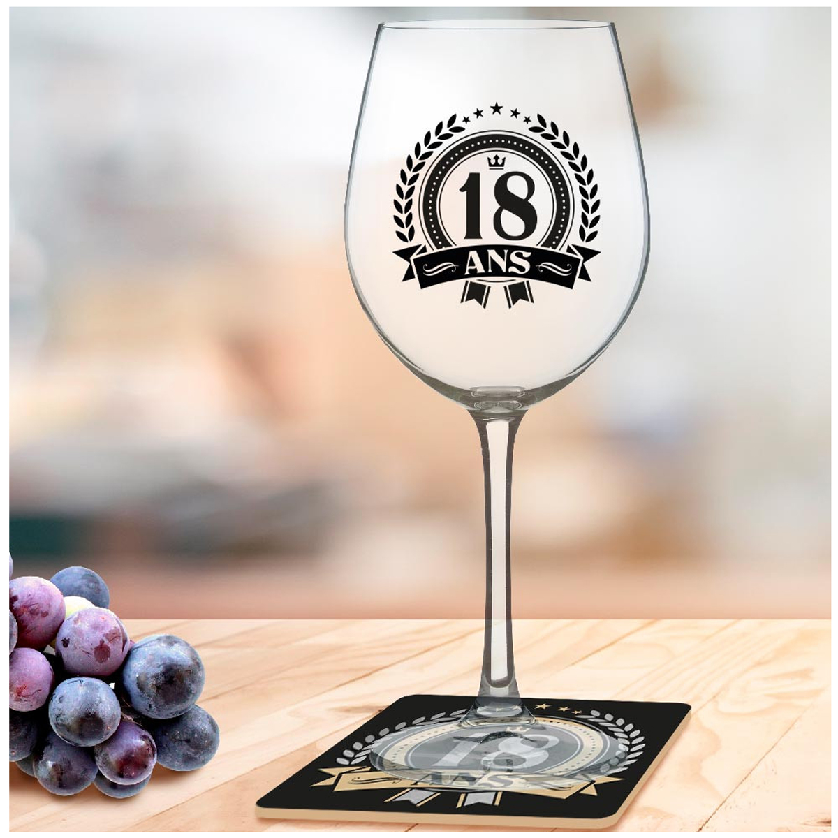 Coffret verre à vin + dessous de verre \'18 ans\' - 23x10 cm - [A3255]