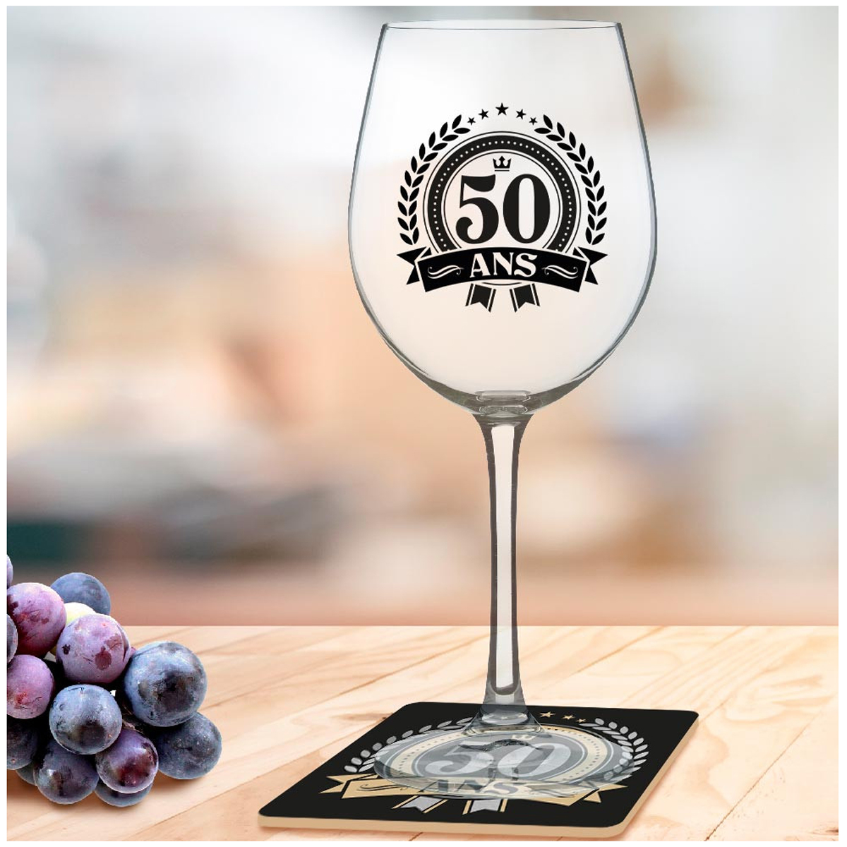 Coffret verre à vin + dessous de verre \'50 ans\' - 23x10 cm - [A3259]
