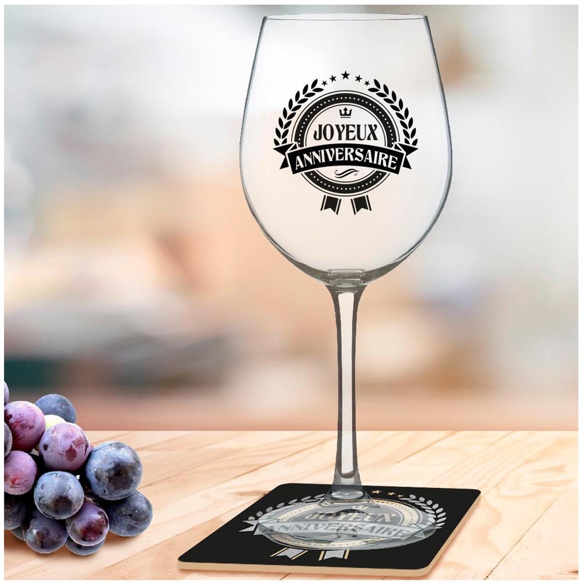 Coffret verre à vin + dessous de verre \'Joyeux Anniversaire\' - 23x10 cm - [A3262]