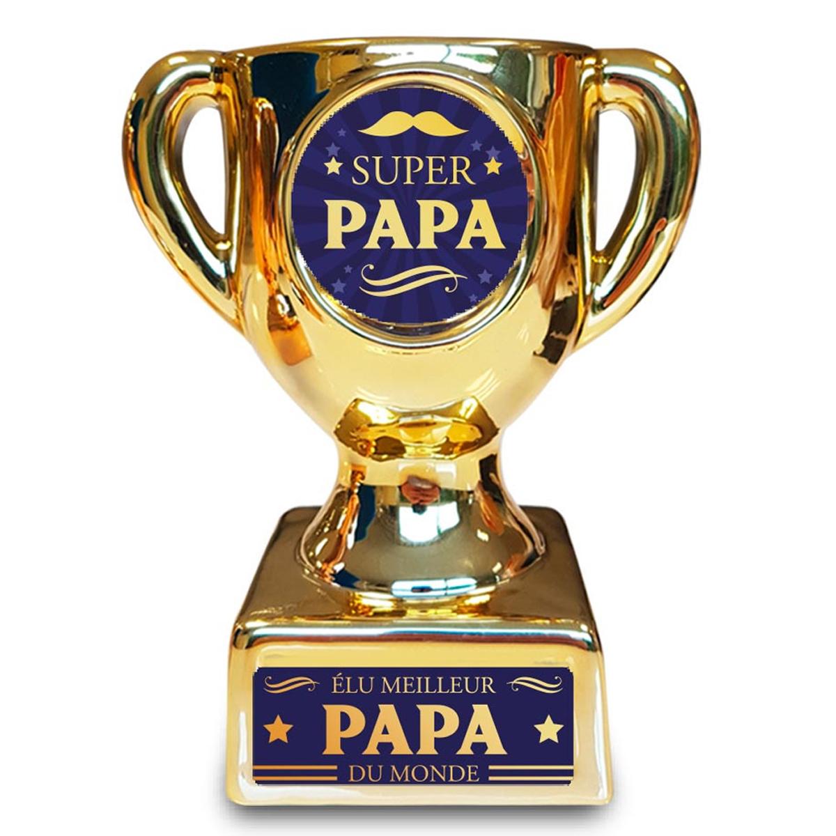 Trophée de star céramique \'Super Papa\' doré - 160x135x85 mm - [A3263]