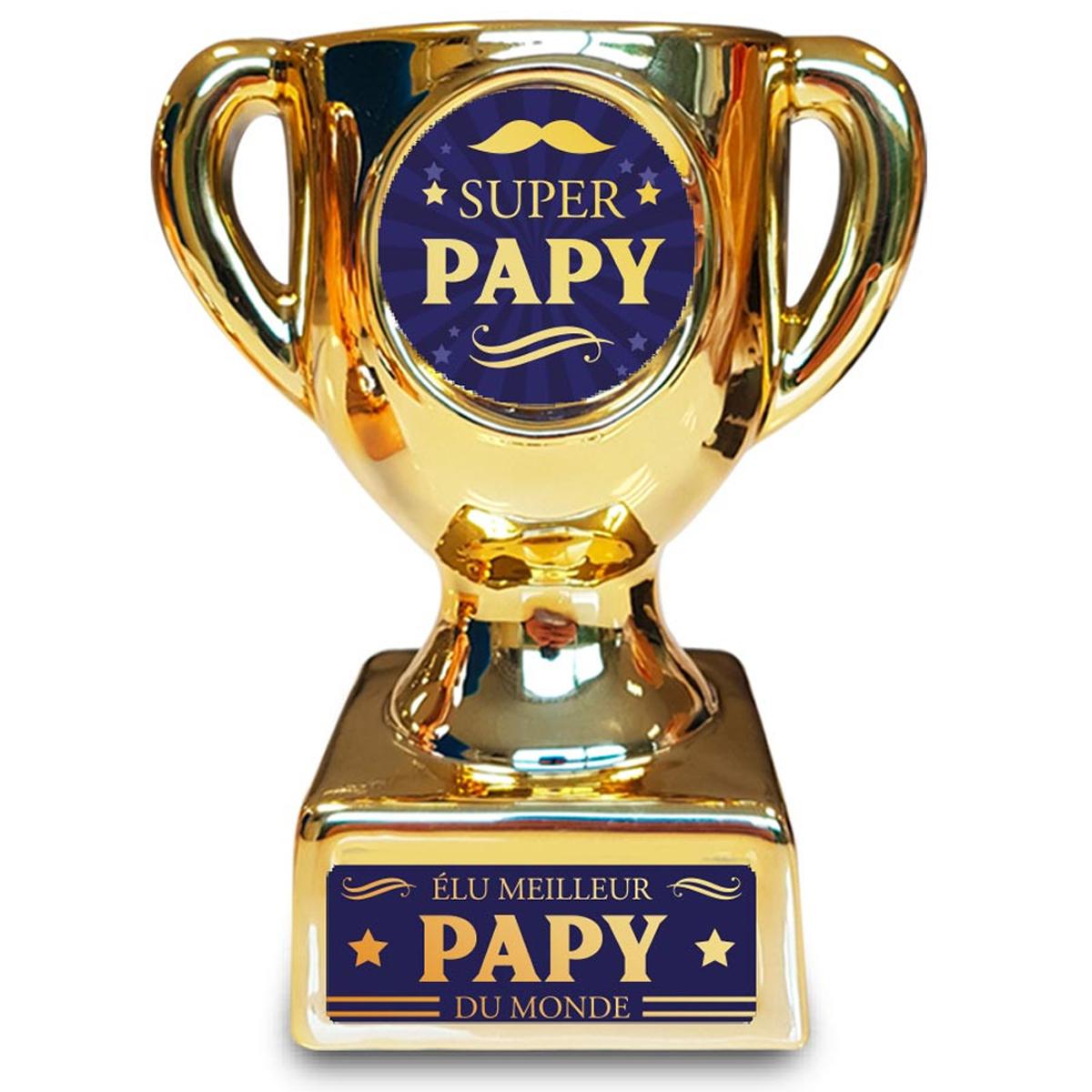 Trophée de star céramique \'Super Papy\' doré - 160x135x85 mm - [A3264]