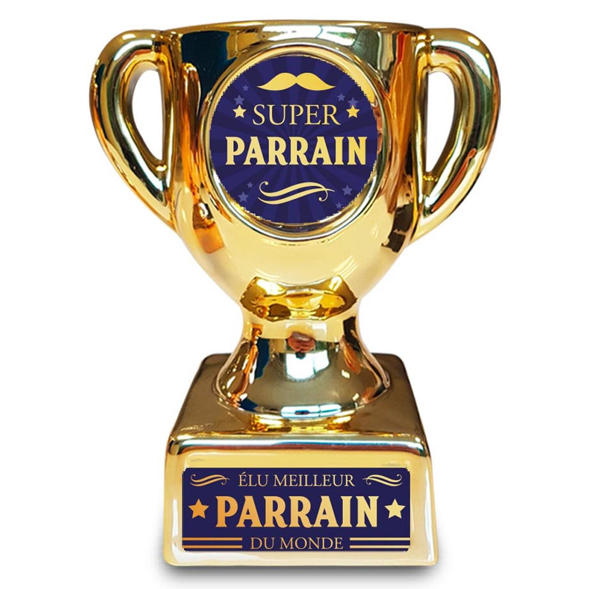 Trophée de star céramique \'Super Parrain\' doré - 160x135x85 mm - [A3265]