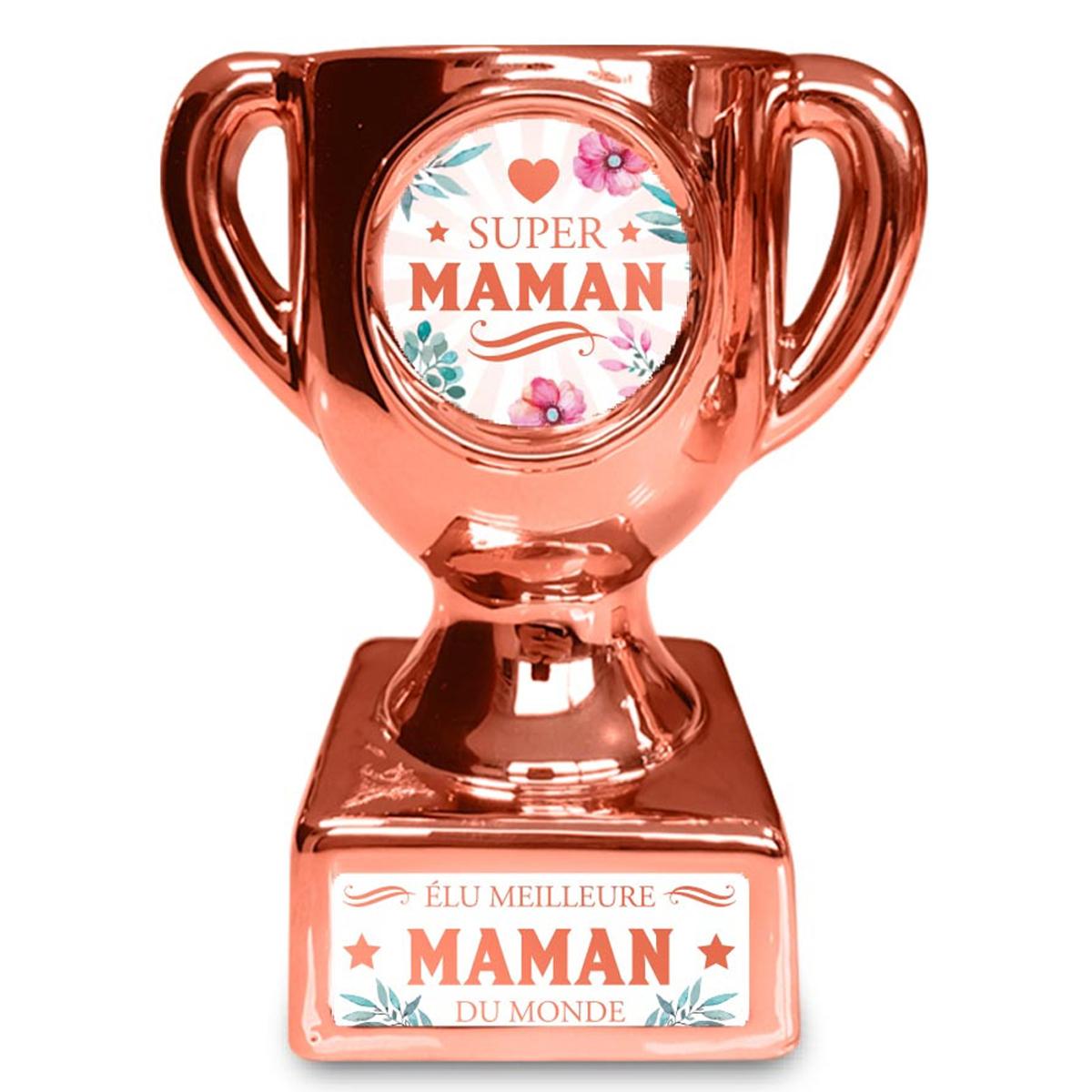 Trophée de star céramique \'Super Maman\' rosé - 160x135x85 mm - [A3266]