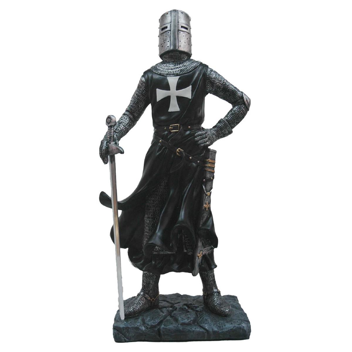 Figurine \'Chevalier Templier\' noir - 45 cm - [A3289]