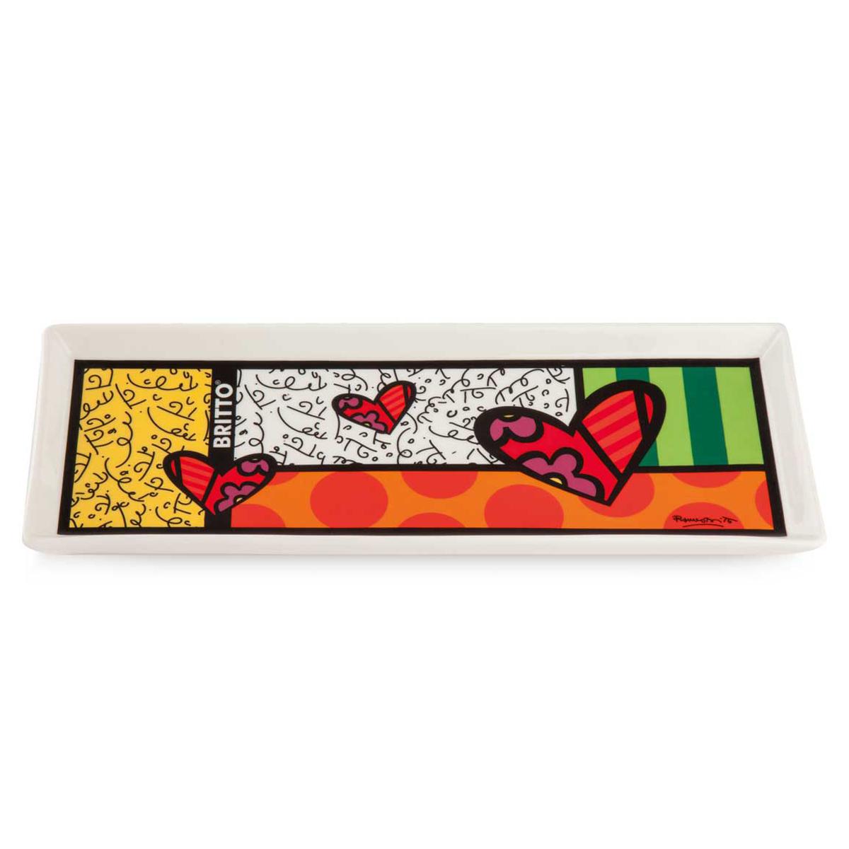 Plateau porcelaine \'Britto\' multicolore (love) - 26x10 cm - [A3291]