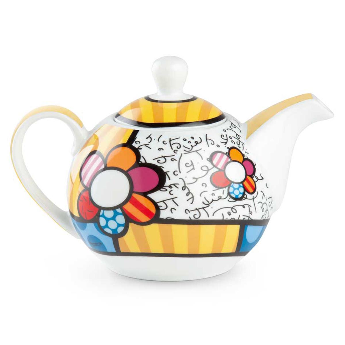 Théière porcelaine \'Britto\' multicolore (fleur) - 175x120x110 mm (470 ml) - [A3292]