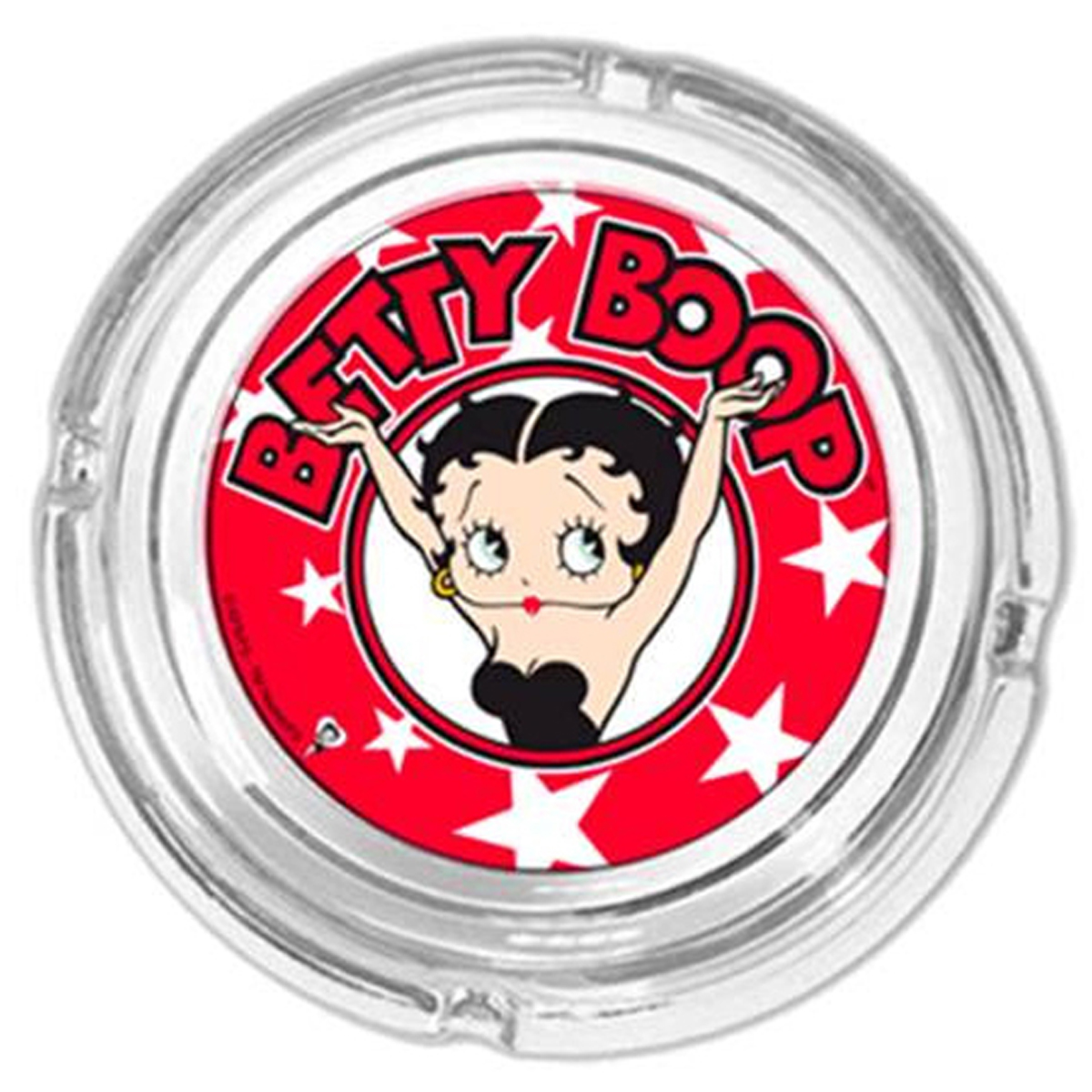 Cendrier verre \'Betty Boop\' rouge - 11x4 cm - [R1609]