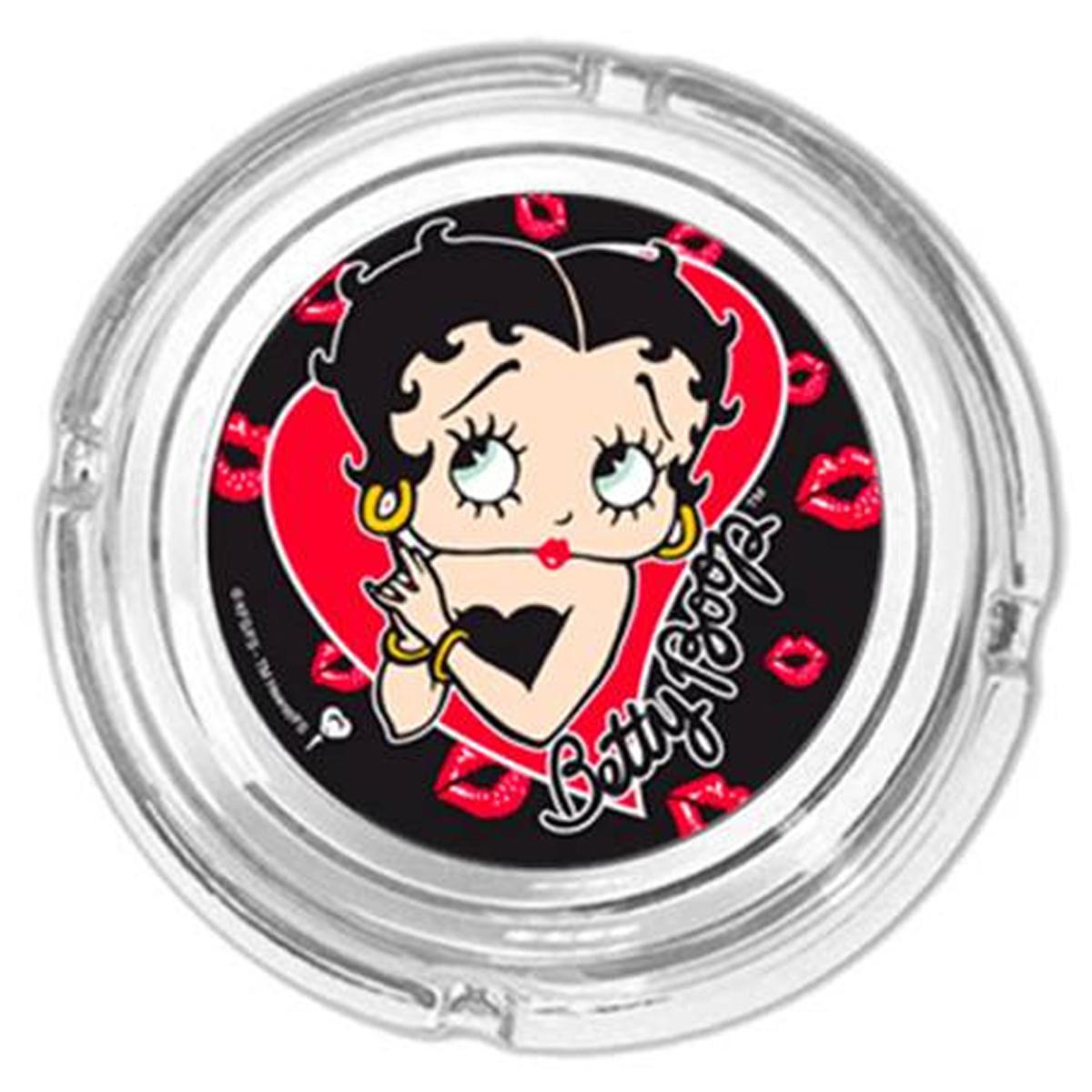 Cendrier verre \'Betty Boop\' noir rouge - 11x4 cm - [R1610]