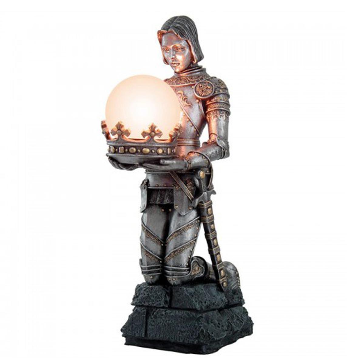 Lampe Déco résine \'Jeanne d\'Arc\' argenté vieilli - 445 cm - [R2804]