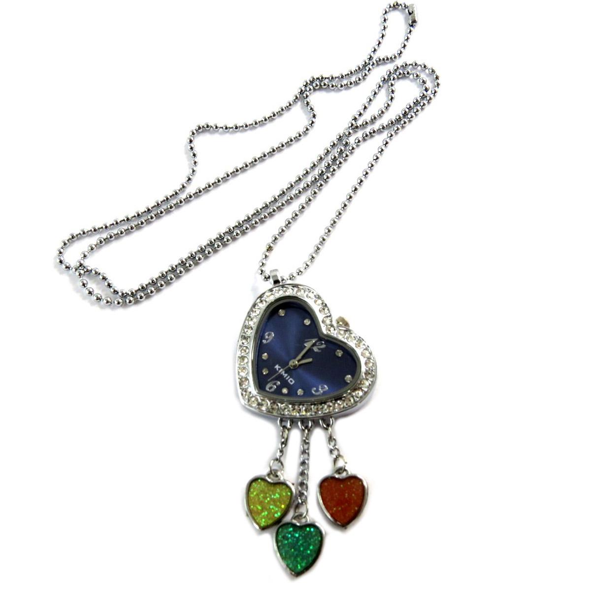 Collier montre \'Love\' multicolore argenté - 70 cm, 60x30 mm - [Q2780]