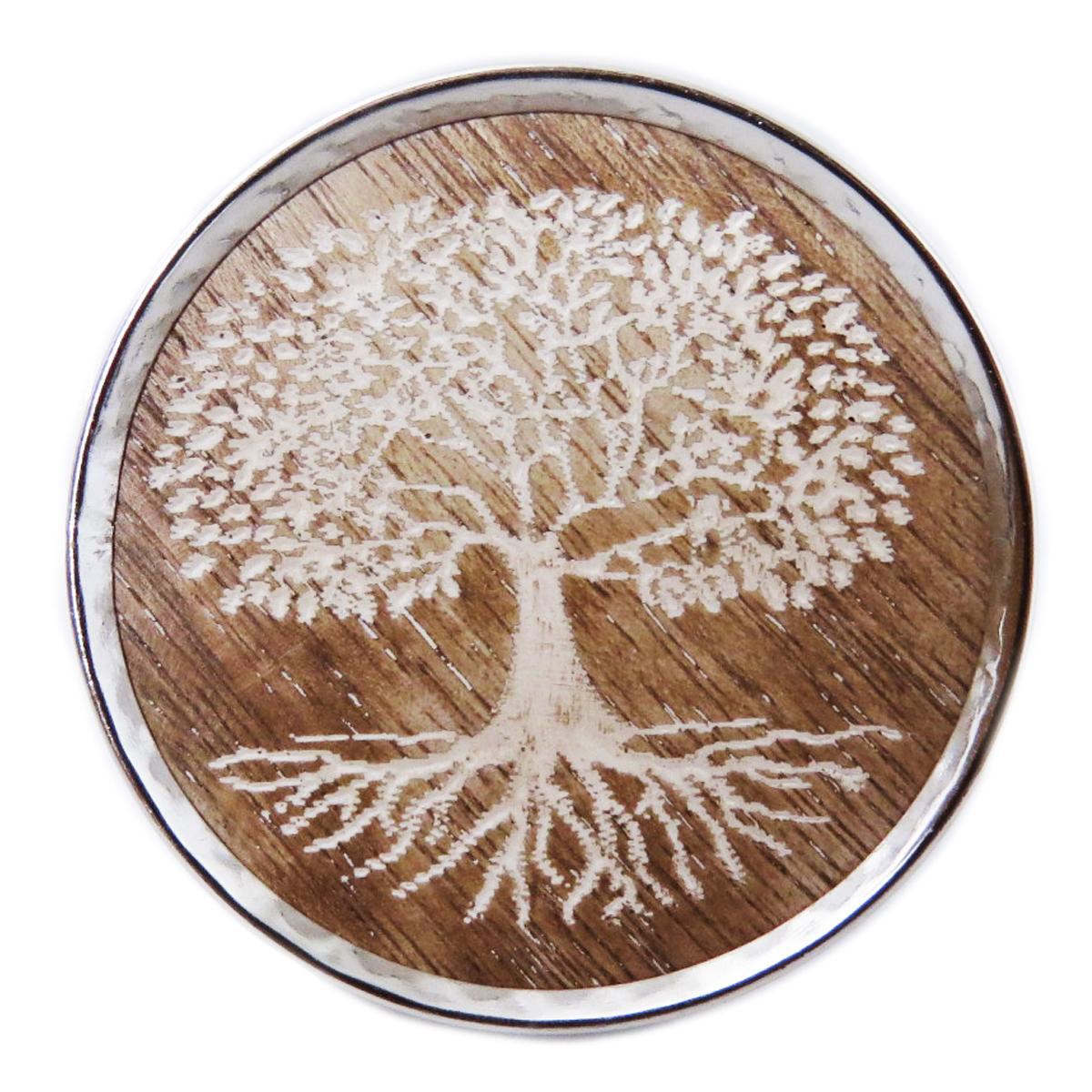 Bouton meuble bois \'Arbre de Vie\' marron argenté - 65x35 mm - [A3108]