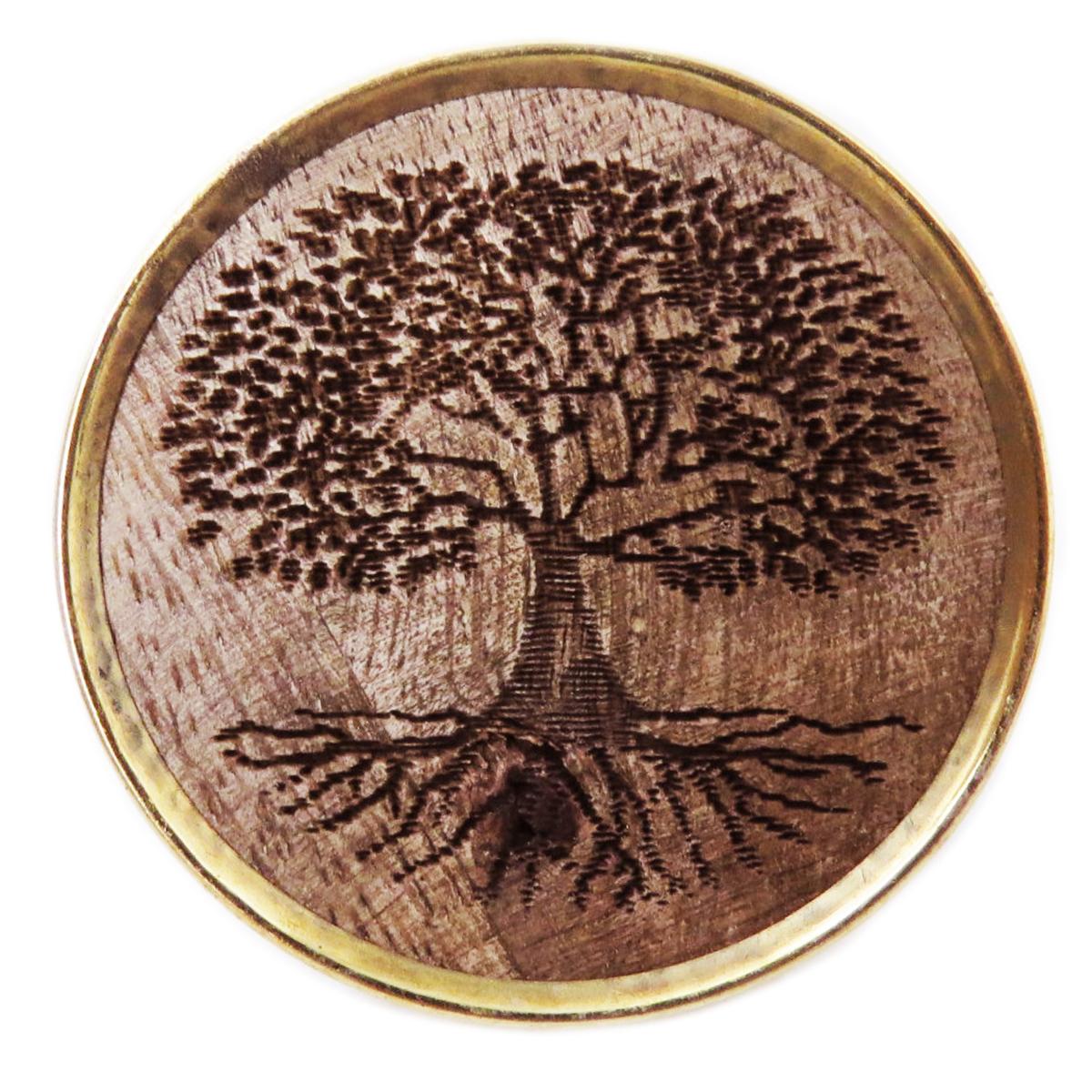 Bouton meuble bois \'Arbre de Vie\' marron doré - 65x35 mm - [A3109]