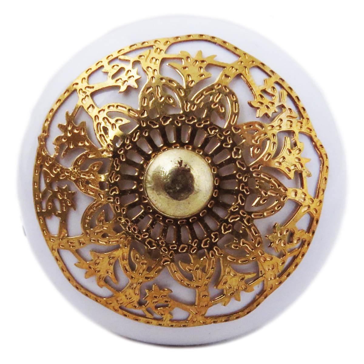 Bouton meuble céramique \'Boho\' blanc doré - 60x40 mm - [A3113]
