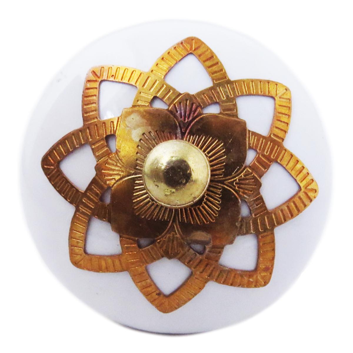 Bouton meuble céramique \'Boho\' blanc doré - 60x40 mm - [A3114]