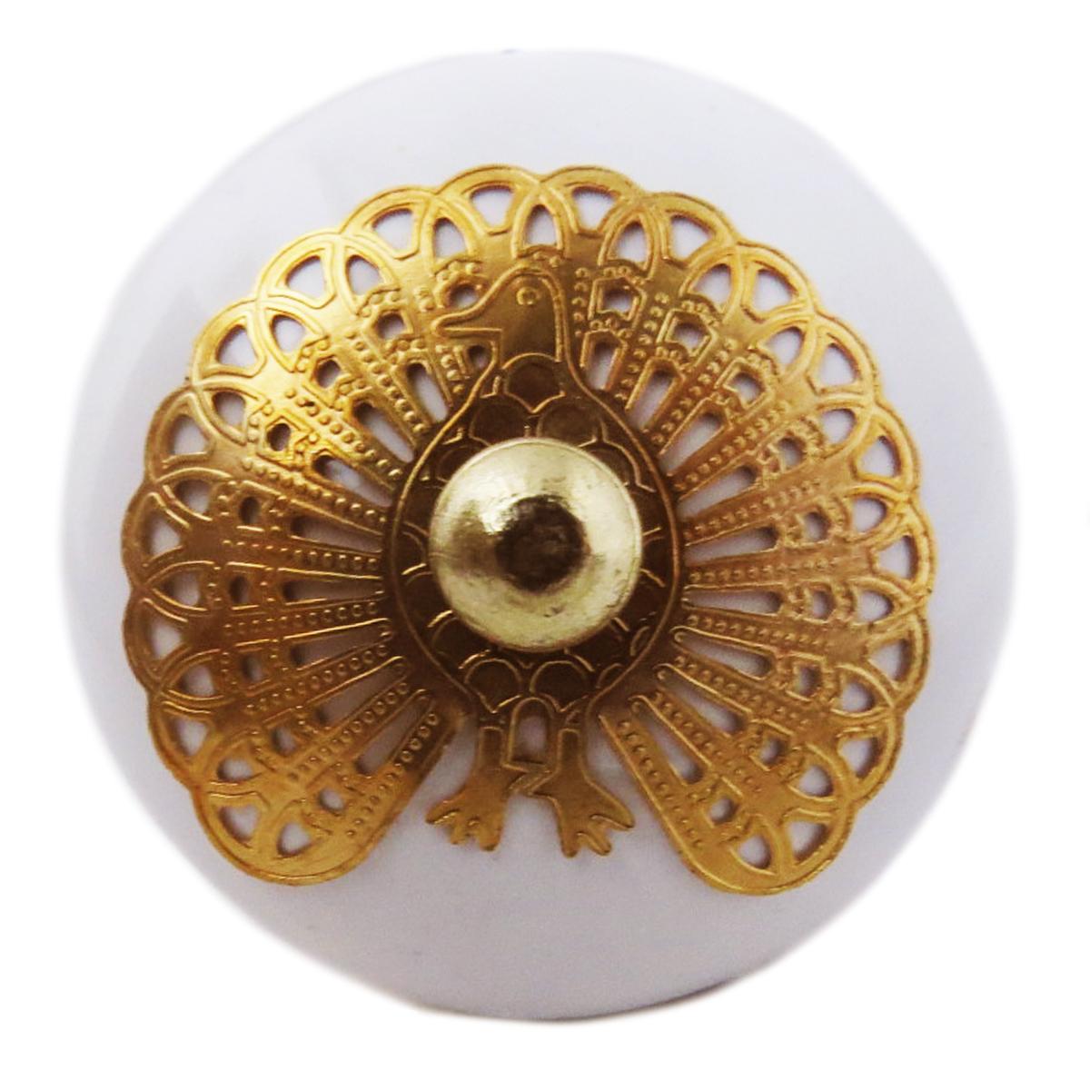 Bouton meuble céramique \'Boho\' blanc doré - 60x40 mm - [A3115]